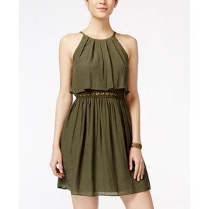 EUC BCX Juniors Olive Green Pop Over Halter Dress